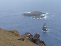 Orongo: vue sur l'île de l'homme oiseai
